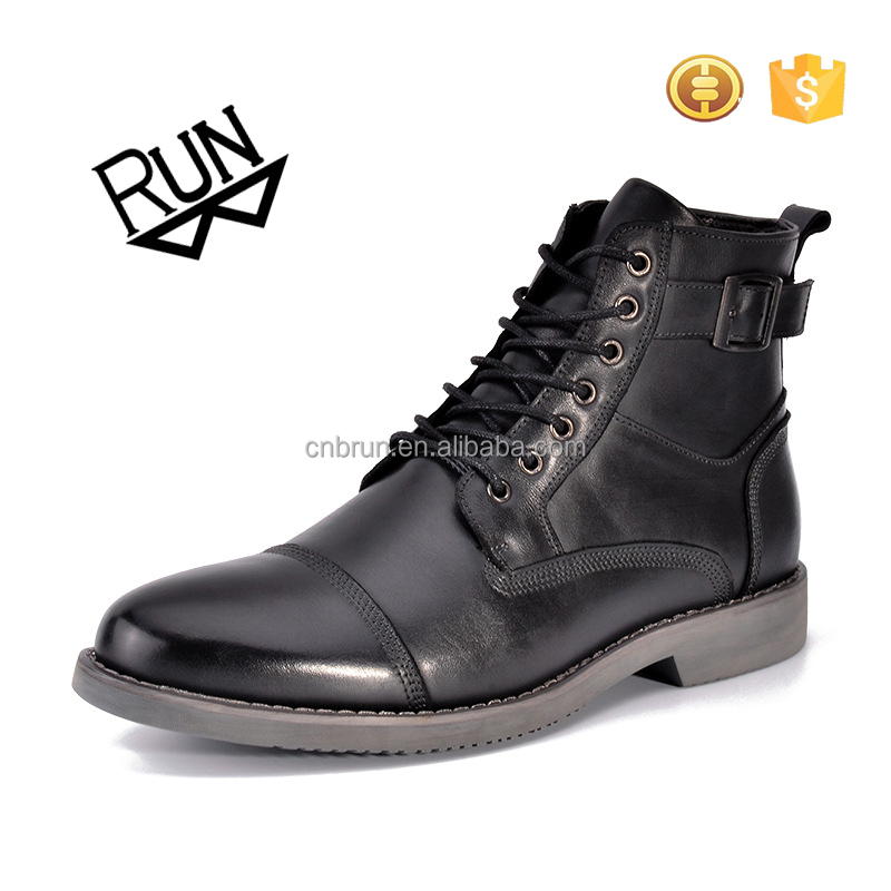 2017 China factory men leather outdoor safty army boots black color