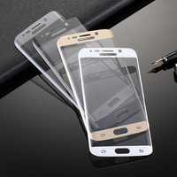 Wholesale Curved Mobile phone tempered glass colorful screen protector for Samsung S6/S7 edge