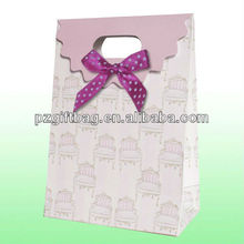 Custom handmade decorative light pink patch handle sealable paper gift packaging bag with ribbon bow