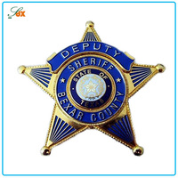 High End Popular Best Sell American Army Cap Badge / Custom Metal Sheriff Star Badge