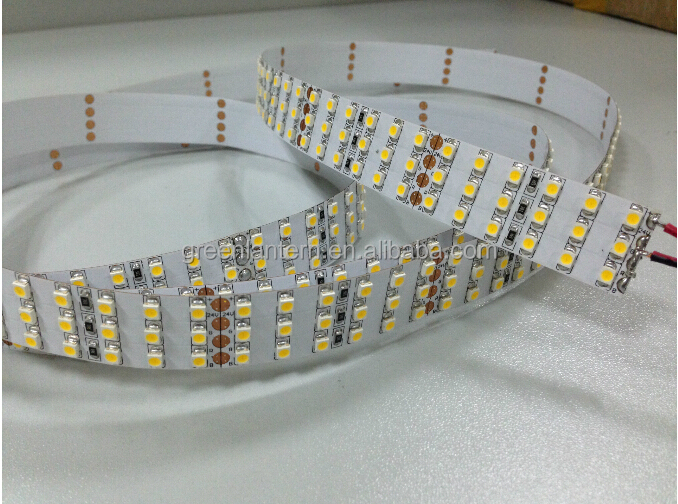 Hot sale 3 row DC12V/24V Non waterproof SMD3528 flexiable LED strip with factory price