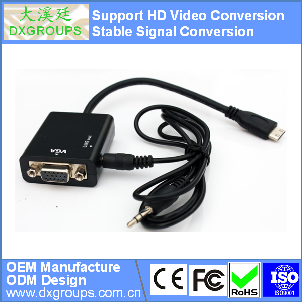 Mini HDMI to VGA Cable with Audio ( HD Video Conversion 3D 1080P) for Tablet Projector HDTV DVD