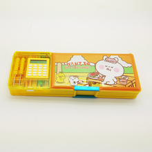 new designs magnetic plastic pencil box with calculator for students stationery