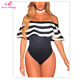 Lover-Beauty Fashion Sexy striped ruffles off shoulder ladies tops latest design fancy tops