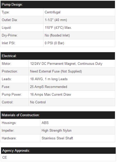 Newmao 3500gph 1224v marine submersible bilge water pump