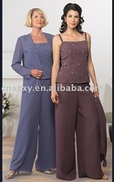 Three pieces Woman lady chiffon suit trousers Hottest Beaded Mother suit MLF-007