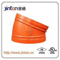 FM&UL approved Ductile Iron Grooved Pipe Fittings 11.25 Degree elbow connectors