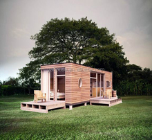 Wooden prefabricate house, wood panel villa container house