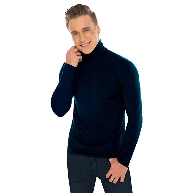 2019 Black turtleneck long sleeve t shirt Custom winter High collar thermal underwear for <strong>men</strong>