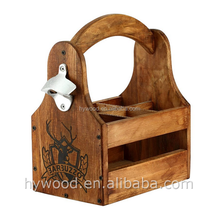 custom Logo paulownia wood 6 bottle wine carrier with opener