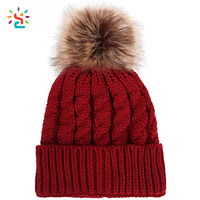 Plain fur pom pom hats knit beanie hat cuff beanies winter ski cap 100 acrylic beanie custom logo knitted hats wholesale