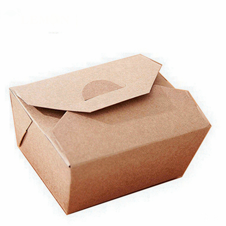 Kraft paper packing <strong>box</strong> disposable fast-food salad takeaway lunch <strong>box</strong>