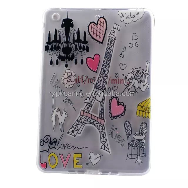 Fashion tpu cover case for ipad mini 1 2 3, Flower tpu gel case for ipad mini