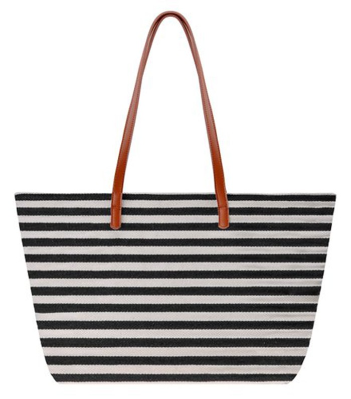 100% cotton Stripe canvas beach bag wholesale