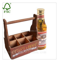 China Caocounty FSC Manufacture hot sale antique vintage old fashioned six bottle pack wooden beer box with dividers wholesale