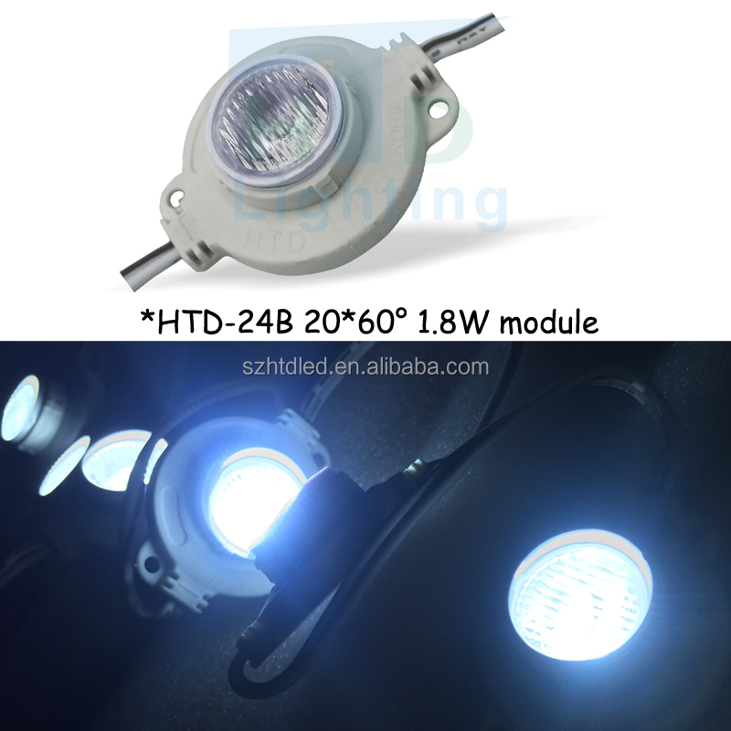 High lumen large viewing angle 20 *60 degree Side light injection led module/module led with lens 12V