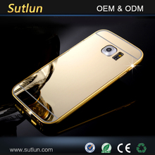 Gold luxury fashion mirror ultra slim metal case with aluminum frame for samsung galaxy s6 s6 edge