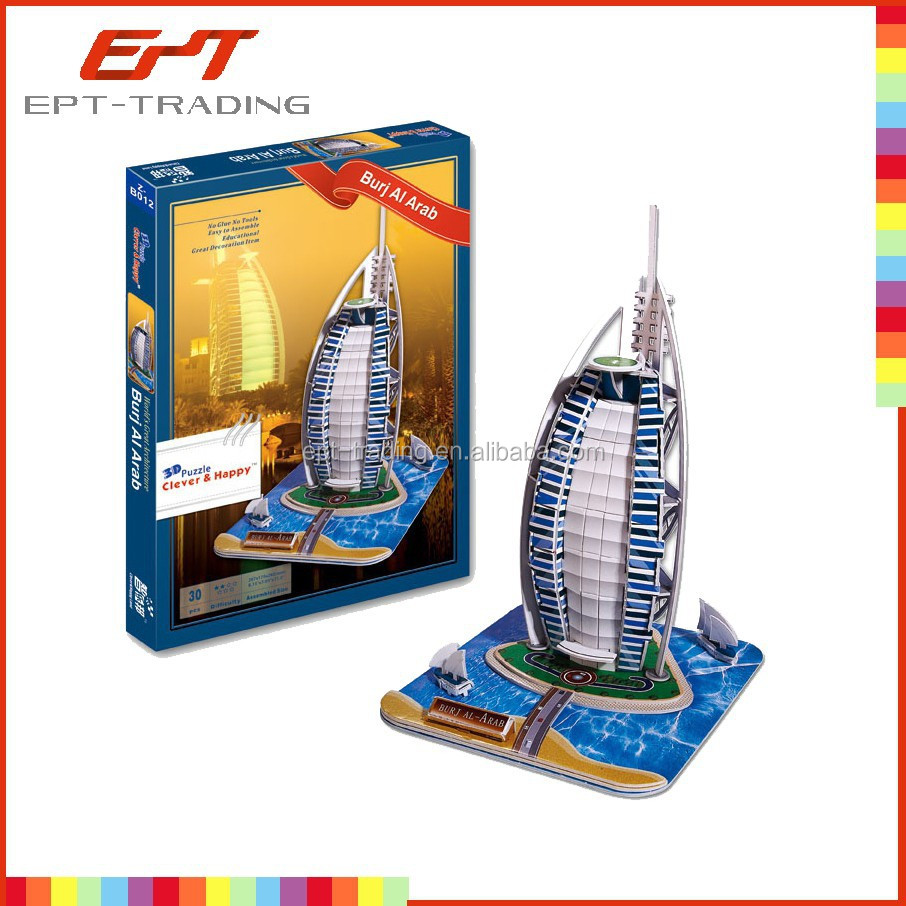 Hot selling jigsaw puzzle game world famous building 3d puzzle toy