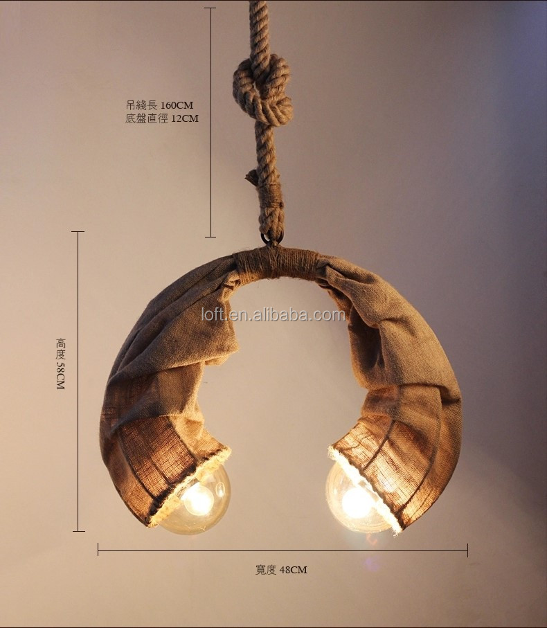 Oriental style handmade hemp rope linen chandelier lamp horn moon shaped pendant light for home or restaurant