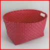 Handled shiny pp handmade woven colored plastic laundry baskets