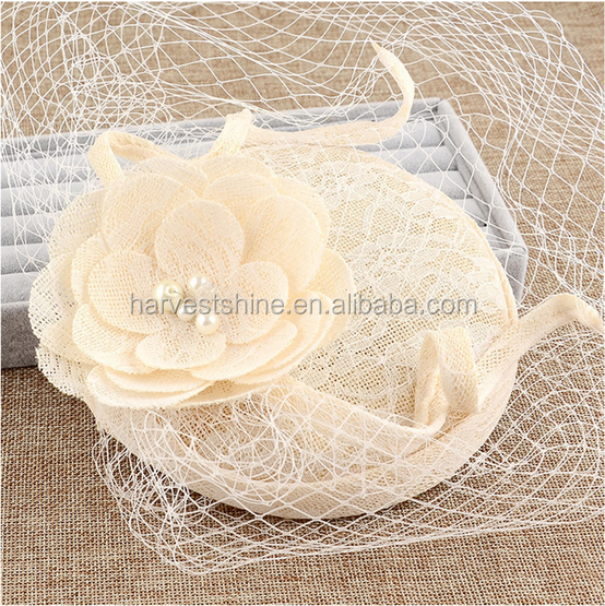 Superior Quality Cream Flower Women Hats Classic Style Mesh Elegant Church Hats