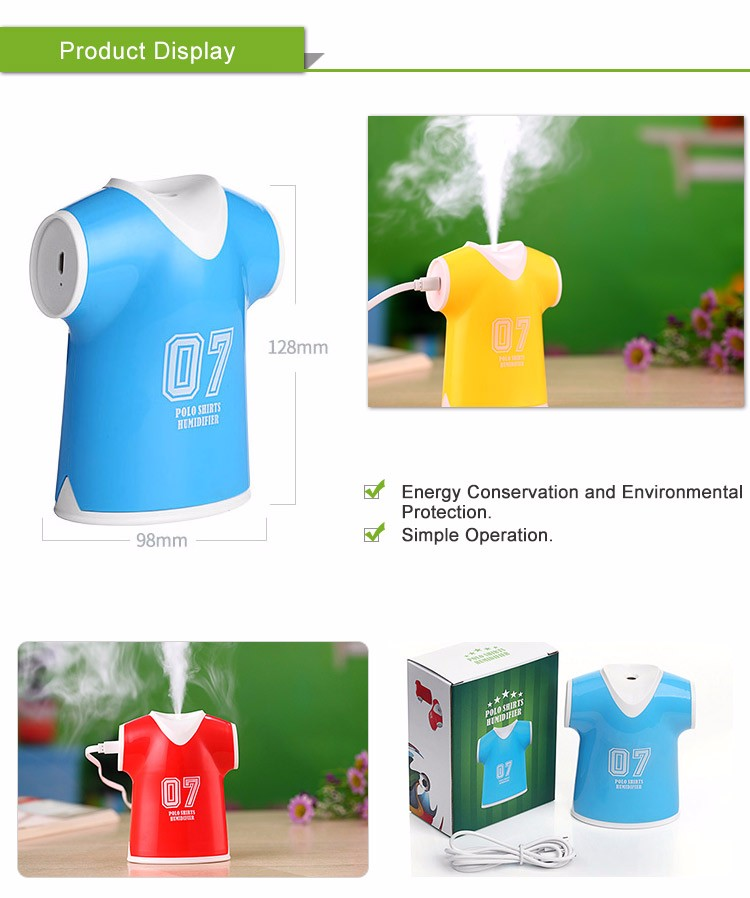 Fashionable Polo Shirts Shaped Ultrasonic Humidifier With USB Port