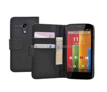WALLET Leather Flip Case Cover Pouch for Mobile Phone Motorola Moto G