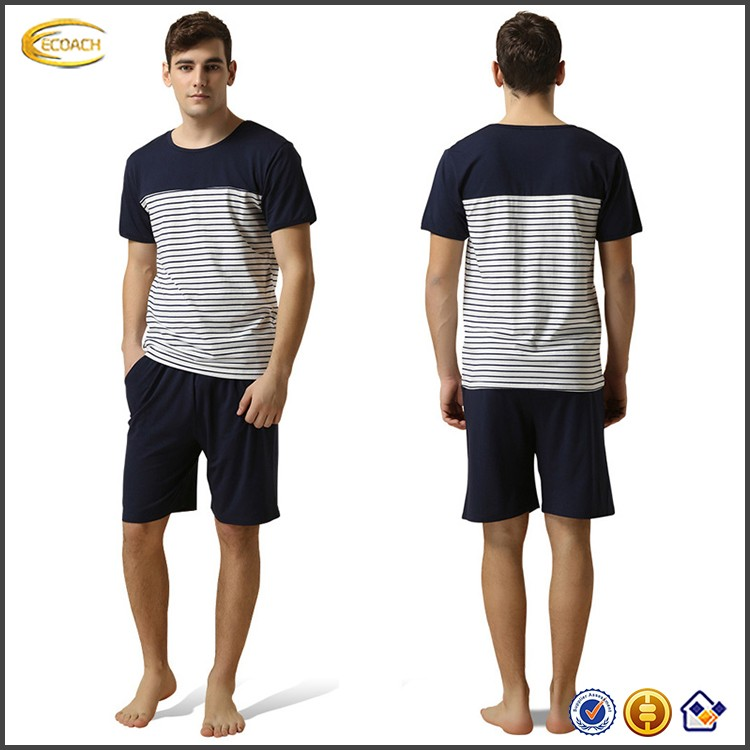 Ecoach Wholesale OEM Striped Short Sleeve Elastic Drawsrting Waistband Cotton Men Pajamas Adult OVeralls
