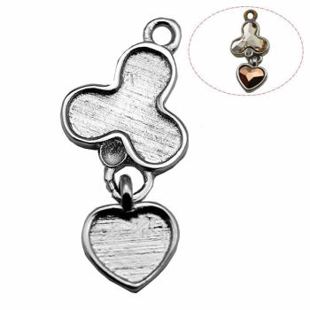 Beadsnice ID30793 925 sterling silver pendant base fit 5.5X5mm 8.5x9.5mm Austria crystal 2708 2808 22x9.5mm blank charm setting