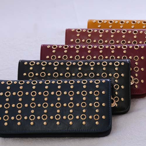 P73 PROMOTION women wallet 2014 new fashion coin purse rivets pouch zipper handbag fashion trendy wallets for women