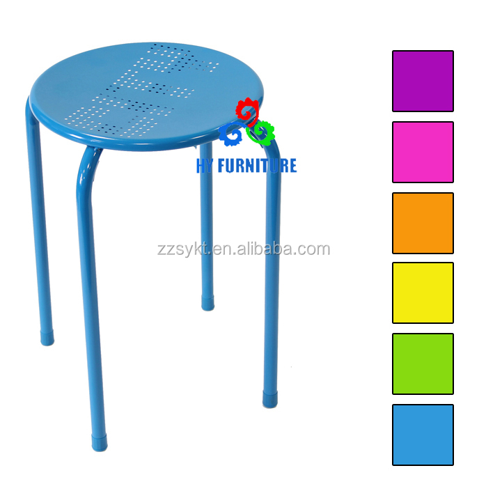 Low height lab furniture used chair all steel round stacking stool