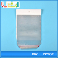 custom printed clear self adhesive seal plastic opp bag with stick close