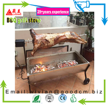 Stainless steel Gas+Charcoal Spit roaster with lid Pig roast spit