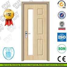 PVC MDF Wooden used commercial interior wood glass door design