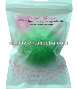 2015 Natural vegetable plant green tea Konjac Sponge for skin care and face cleansing