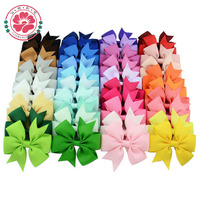 564 Wholesale Children Hair Accessories 3'' Inch 40 Colors Grosgrain Ribbon Boutique Baby Hair Bows With Clips