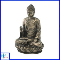 Meditating miniature resin silver sitting buddha