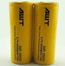 AWT 26650 battery 4500mah 75A awt 26650 battery for vape pen free sample 300 watt mod rechargeable e hookah saudi arabia