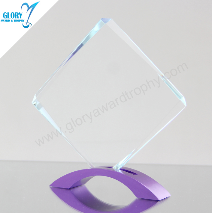 Unique Rhombus glass Award with alloy base 2017
