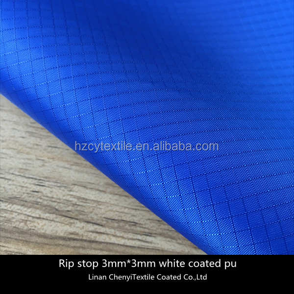 210T 100% polyester white coated ripstop taffeta fabric
