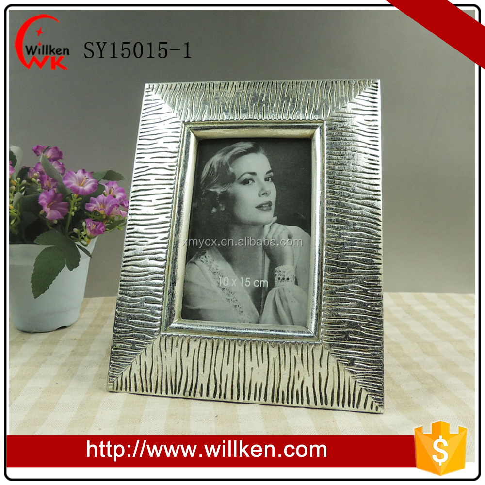Silver Glitter 4x6 Resin Picture Photo Frame for Wall Decor