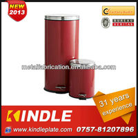 K-D39 red color stainless steel waste disposal can/dustbin.OEM service