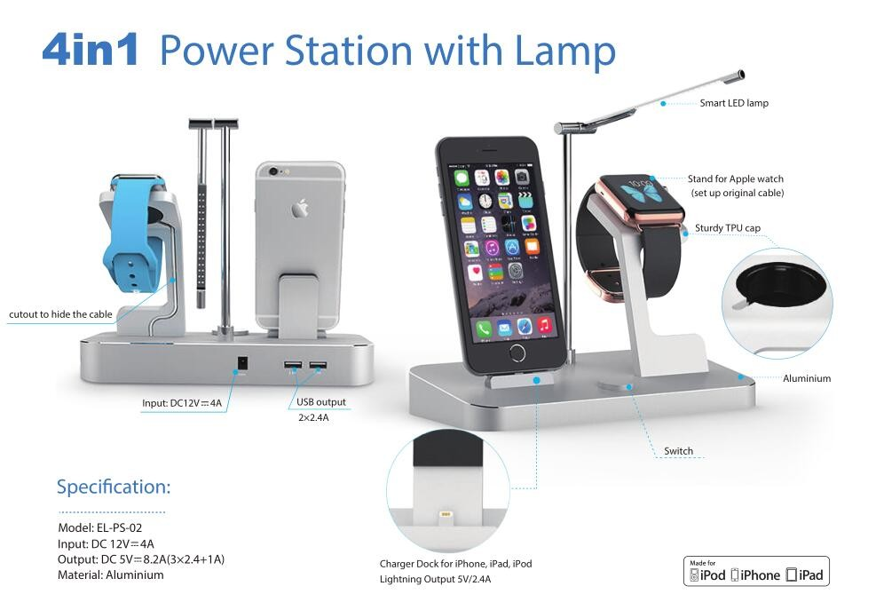 for iPhone iPad and for Apple Watch with LED light charging station