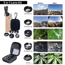Apexel Deluxe 5 in 1 lens kit professional HD mobile phone camera lens kit for smartphone