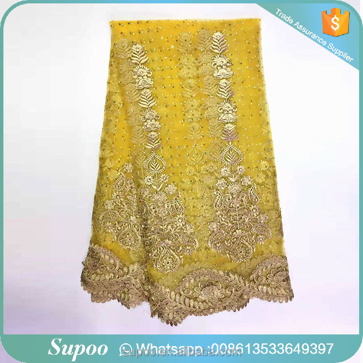 For ladies garment or curtains tulle lace with stones guipure lace fabric 2015 cord lace