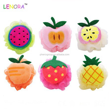 New and hot attractive style kinds of fruit designs plush bath toys for baby fashionable