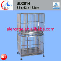 Large double modular stainless steel dog cages