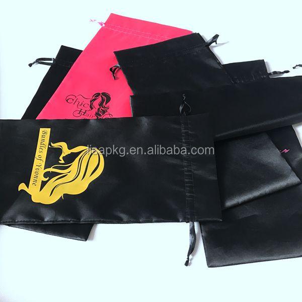 Logotipo personalizado impresso sacos de cabelo de cetim na caixa de embalagem