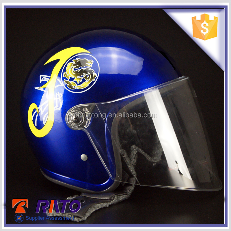 Gold supplier blue full face lightweight motorcycle helmets