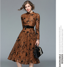 New Products High Quality Lace Pleated Long Dress Long Sleeves Women Dress Spring Autumn